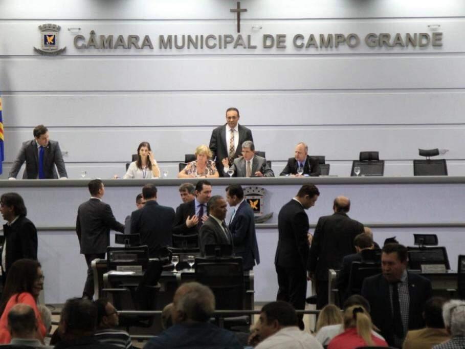 Vereadores durante sessão na Câmara Municipal de Campo Grande. (Foto: Marina Pacheco/Arquivo).