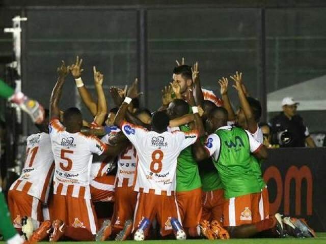 Comemoração do Bangu em São Januário (Foto: André Durão/Globo Esporte.com)