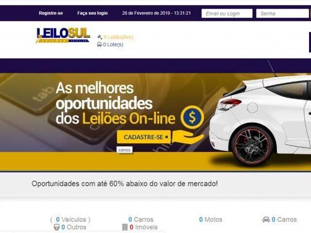 Reprodução do site da Leilosul Veículos, que hoje oferta 0 lotes.