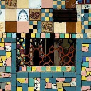 Composição de azulejos formam o painel. (Foto: Bruno Veiga)
