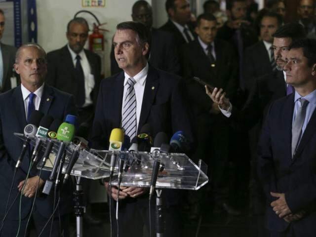 Jair Bolsonaro durante o pronunciamento nesta terça-feira. (Foto: Valter Campanato/Agência Brasil)