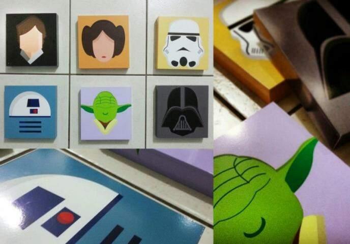 Star Wars é uma das inspirações. Os 6 quadros custam R$ 120,00