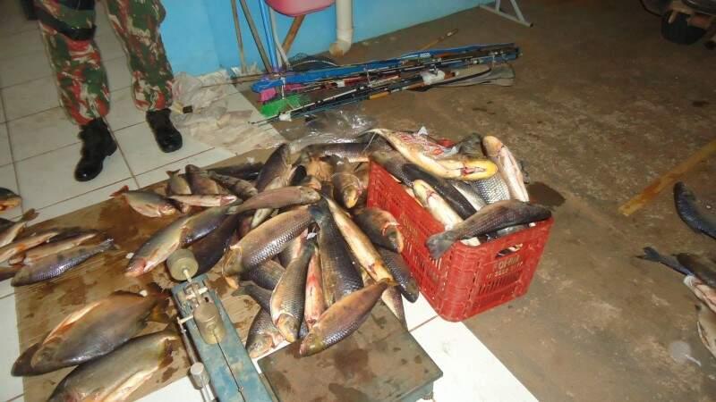 Mais de cem quilos de pescado foram apreendidos. (Foto:Divulgação)