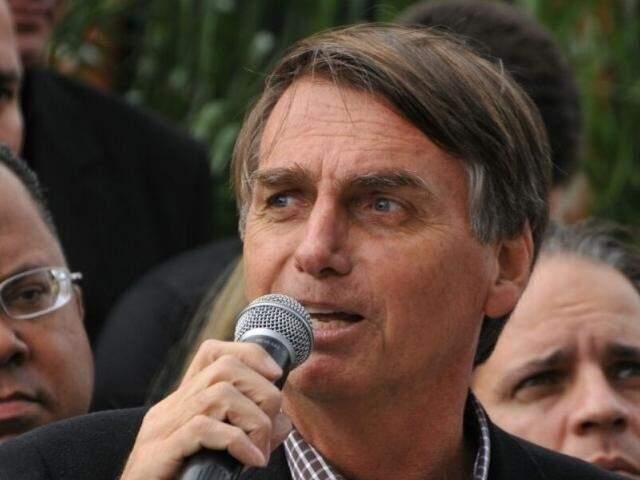 Jair Bolsonaro discursa durante evento em Campo Grande, em junho de 2016. (Foto: Alcides Neto/Arquivo).