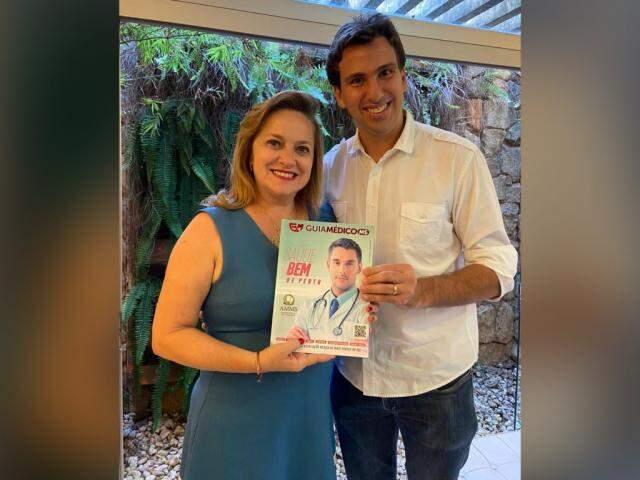 Dra. Maria José Maldonado Presidente da AMMS e Kenneth Correa Diretor de Tecnologia do Grupo WTW (Foto: Divulgação)