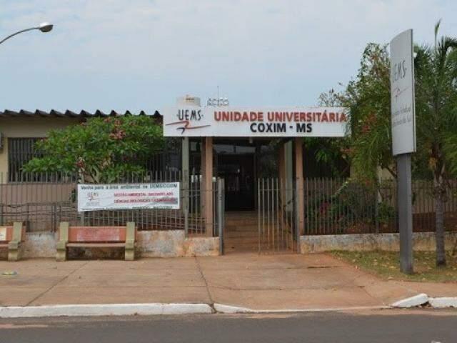 Fachada da Uems em Coxim. (Foto: Edição MS)