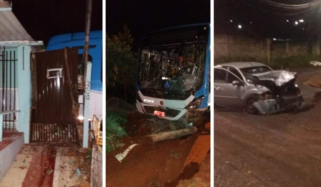 Na parte externa, imagem de ontem à noite, do carro e do ônibus danificados. (Foto: Direto das Ruas)