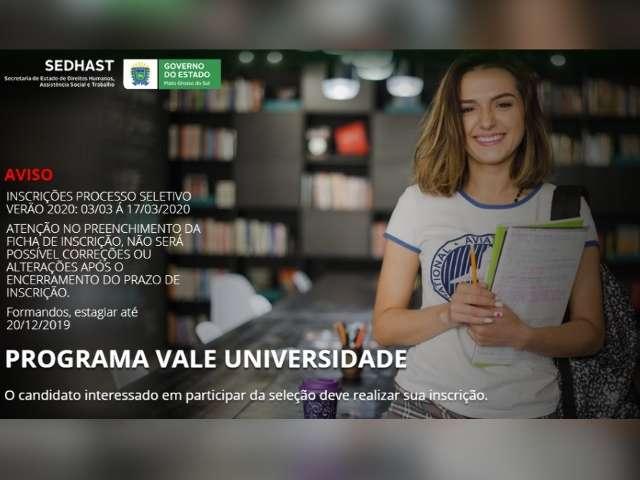 Estado abre hoje inscrições para o programa Vale Universidade