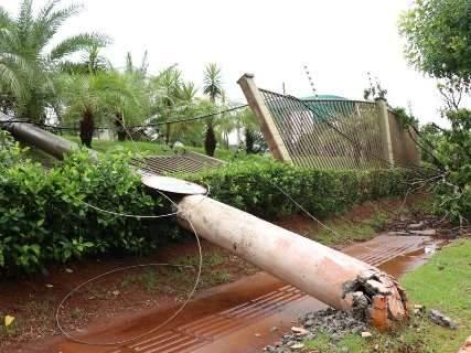 Vento derruba aroeira e postes caem com efeito dominó em condomínio