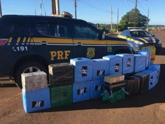 Uma das cargas de droga apreendida pela PRF em 2019. (Foto: Divulgação)