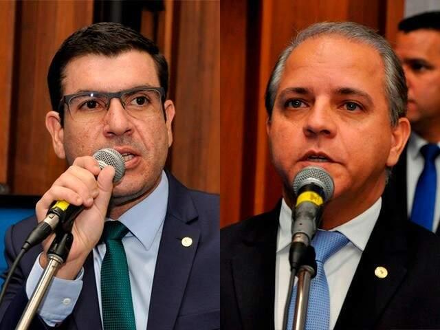 Deputados Jamilson Name (sem partido) e Carlos Alberto David (PSL), durante sessão (Foto: Luciana Nassar/ALMS)