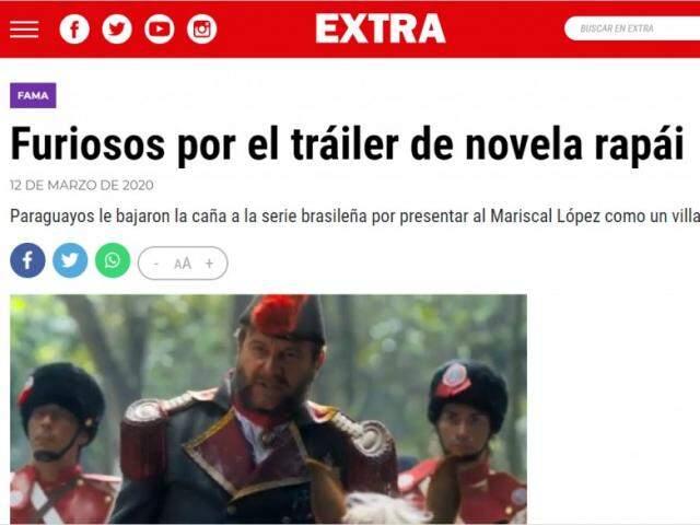 Reportagem no Paraguai repercutindo a chamada (Foto: Extra.com.py)