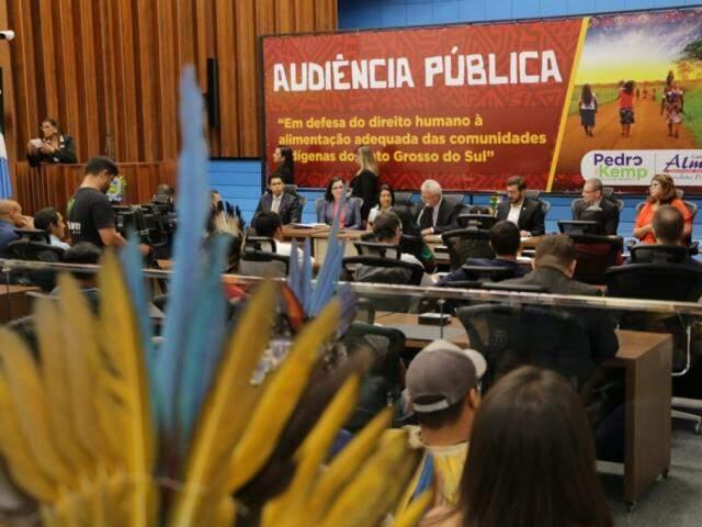 Representantes indígenas estiveram no plenário da Assembleia Legislativa de MS durante audiência pública, na tarde desta sexta-feira (Foto: Kísie Ainoã)