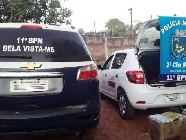 PM apreendeu drogas e munições em carro oficial da Prefeitura de Bela Vista (Foto: Porã News)