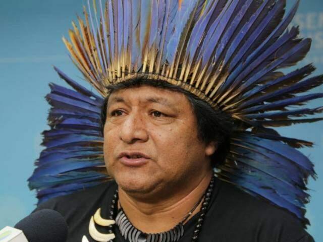 Alberto Terena, um dos líderes indígenas e representante da comunidade da região de Caarapó (Foto: Kísie Ainõa)