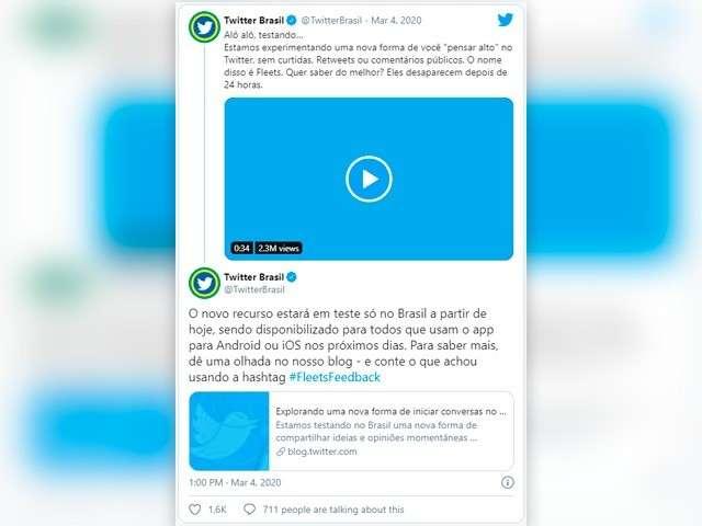 """Twitter começa a testar função """"stories"""" para brasileiros"""