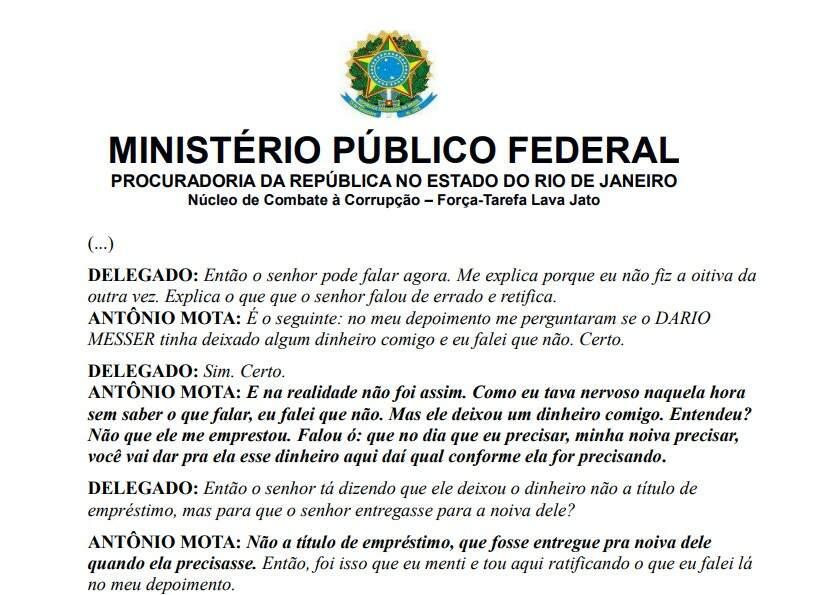 Trecho do depoimento do pecuarista foi anexado à denúncia do MPF do Rio de Janeiro.
