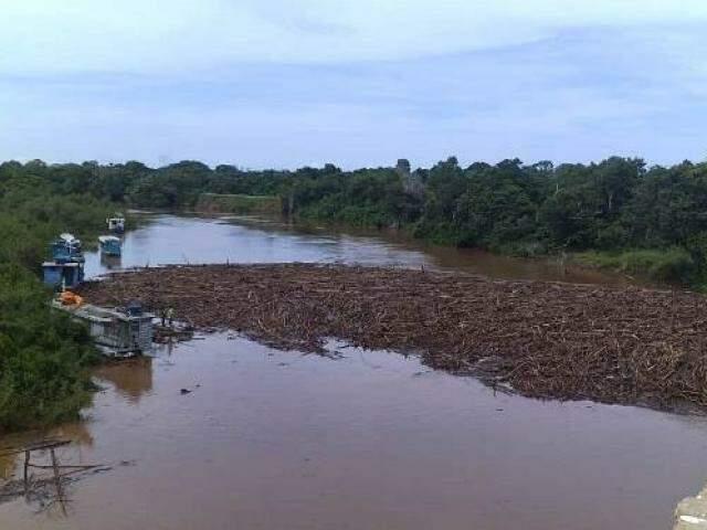 Sujeira acumulada no Rio Miranda (Foto: Divulgação/Imasul)