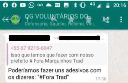 Print de mensagem enviada em grupo de WhattsApp anexado a processo movido pela prefeitura. (Foto: Reprodução do processo)