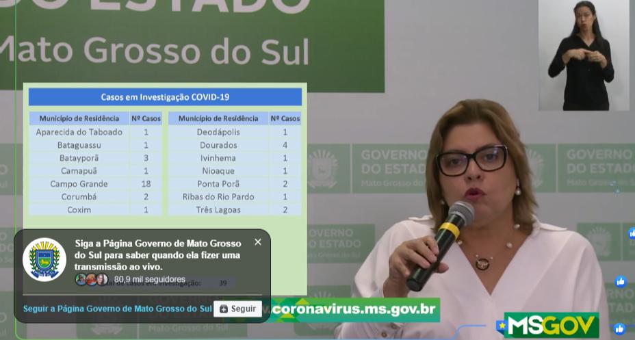 Secretária-adjunta de Saúde do Estado, Christine Gonçalves Maymone, na transmissão ao vivo desta tarde (Foto: Reprodução)