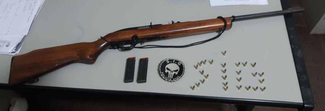 Espingarda calibre .22 usada nos disparos e 27 munições intactas. (Foto: Divulgação/PolíciaCivil)