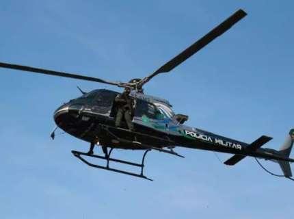 Helicóptero da polícia de MS ajuda nas buscas de militar desaparecido