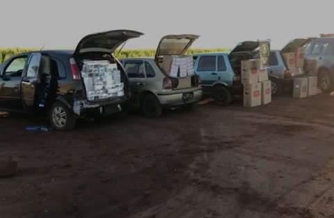 Grupo é flagrado pelo DOF com 2,8 mil pacotes de cigarros na fronteira