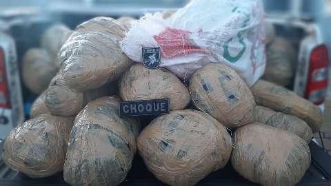 Choque prende 4 traficantes e encontra 307 quilos de drogas em assentamento