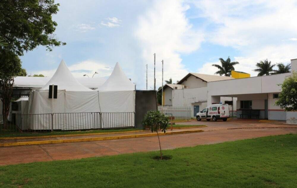 Tende para testagem instalada no município de Itaporã (Foto: Divulgação/Prefeitura Itaporã)