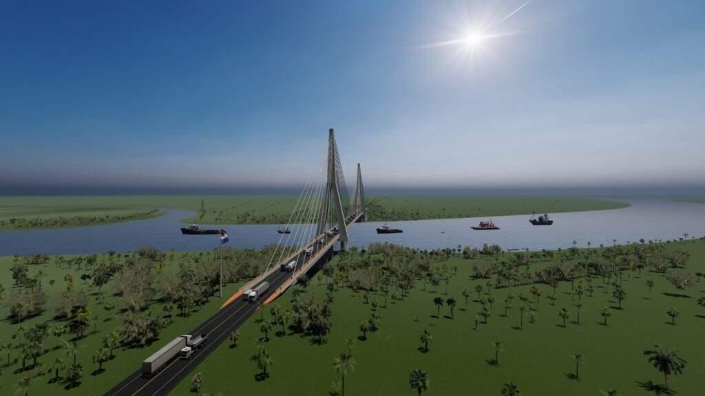 Projeto da ponte sobre o Rio Paraguai entre Porto Murtinho e Carmelo Peralta (Foto: Reprodução)