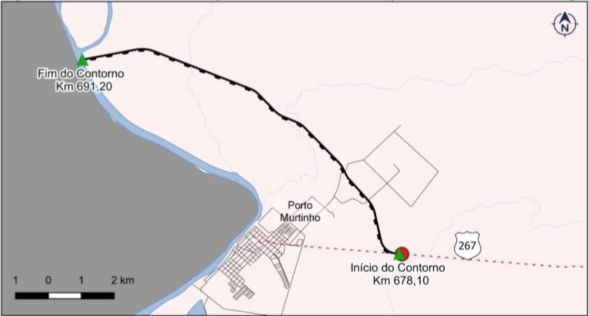 Mapa ilustra trajeto do contorno ao norte do centro urbano de Murtinho (Foto: Reprodução/Dnit)