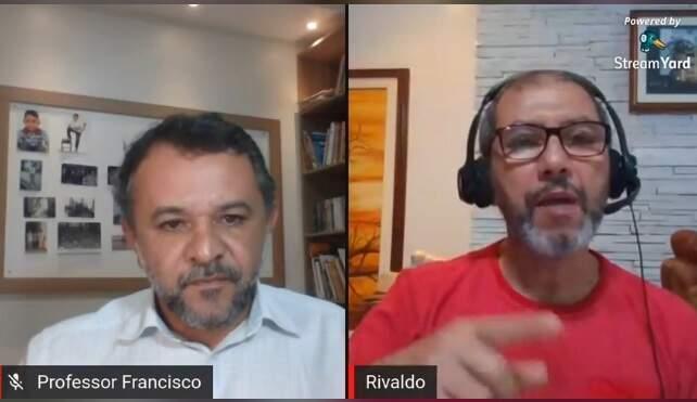 Professor Francisco Santos (dir) e Rivaldo Venâncio (esq) durante live sobre cenário da covid-19 no País (Foto/Reprodução)