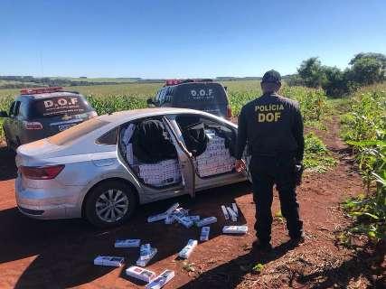 Motorista foge de abordagem e abandona carro caregado com cigarros na MS-270