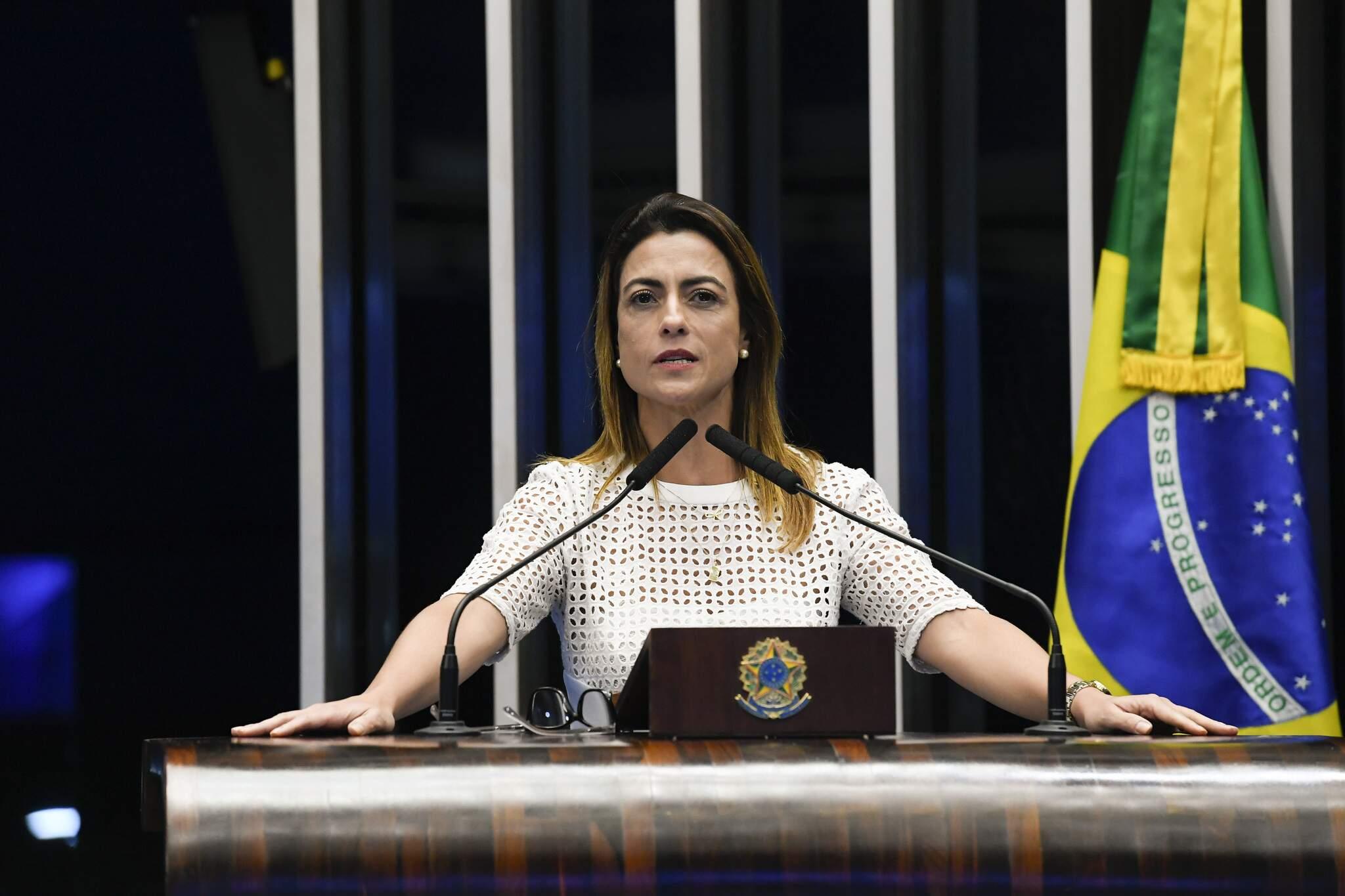 Senadora Soraya Thronicke durante discurso (Foto: Senado/Divulgação)