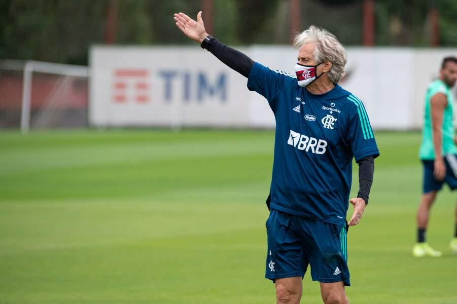 Jorge Jesus orienta elenco do Flamengo em treino (Foto: Alexandre Vidal/Flamengo)