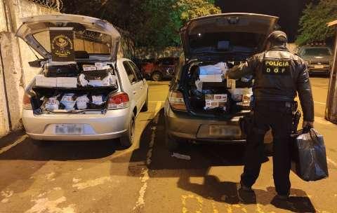 DOF apreende veículos com 525 pacotes de cigarros contrabandeados do Paraguai