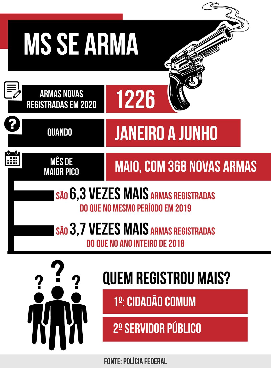 Só este ano, até junho, 1.226 novas armas (Arte: Thiago Mendes)