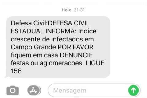 """Através de mensagens Defesa Civil faz apelo: """"denuncie festas ou aglomerações"""""""