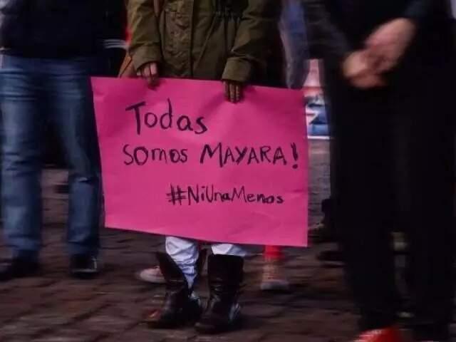 Imagem que circulou nas redes em 2017, em uma das manifestações pela morte de Mayara Amaral que ocorreu em todo País.