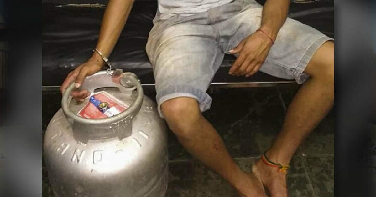 Criminoso foi preso minutos depois de furtar botijão de gás da mãe. (Foto: Ligado na Notícia)