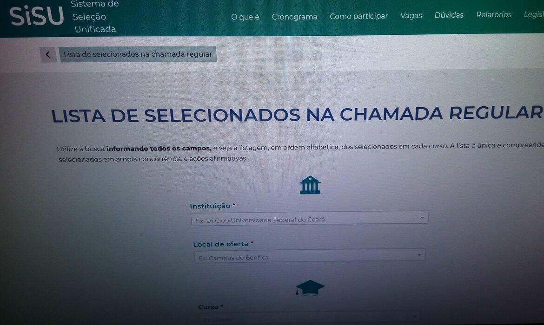 Página de consulta das vagas oferecidas pelo Sisu. (Foto: Agência Brasil)