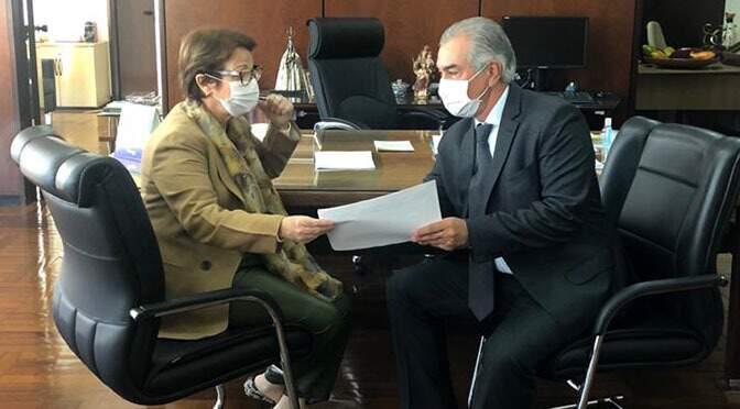 Governador Reinaldo Azambuja (PSDB) durante reunião com a ministra Tereza Cristina, em Brasília (Foto: Divulgação - Mapa)
