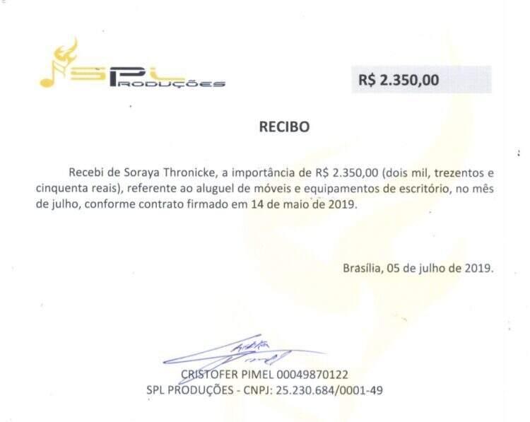 Por computadores, mesas e cadeiras, Soraya paga R$ 2.350 por mês com dinheiro do contribuinte. (Foto: Reprodução)