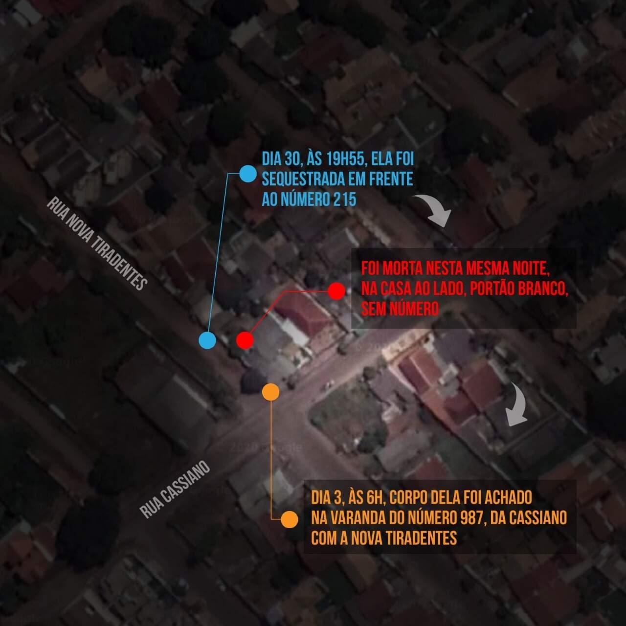 Mapa mostra proximidade entre local do rapto e lugar onde corpo foi deixado; residência de Marcos André fica no meio (Arte: Thiago Mendes)