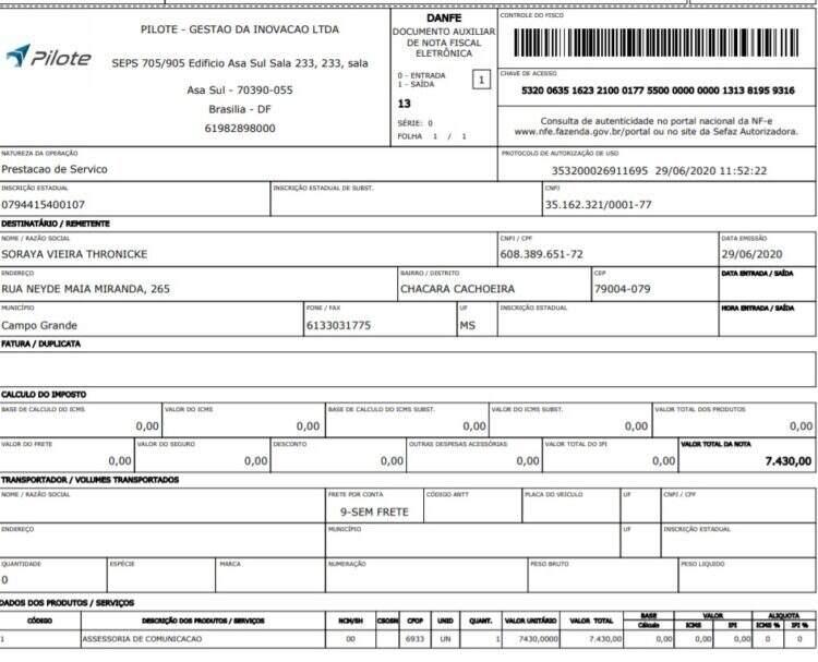 Mesmo em meio a pandemia, pagamentos sobre monitoração das redes sociais da senadora foram mentidos: R$ 28.838,29 entre abril e junho. (Foto: Reprodução)