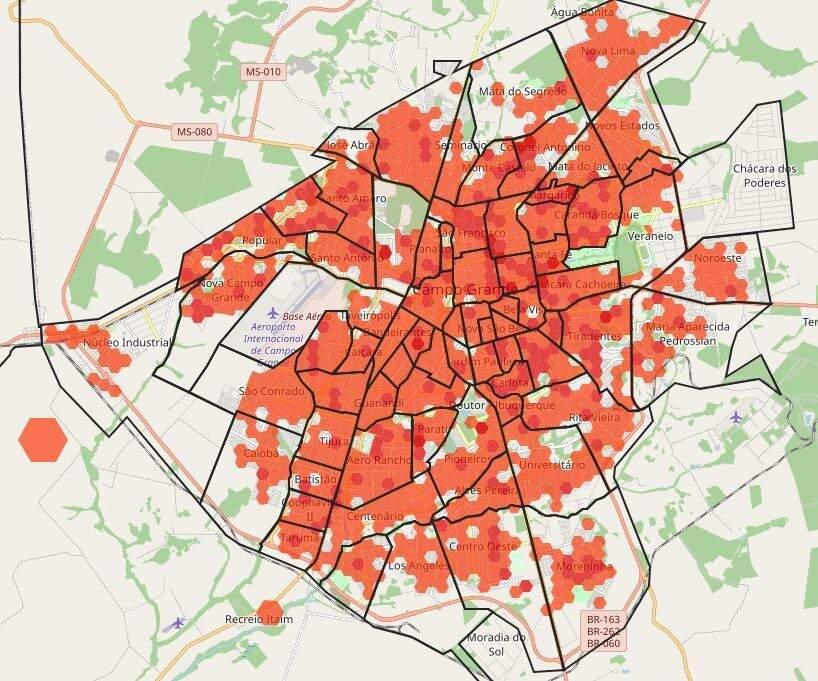 Mapa do sistema que monitora a covid na Capital mostra em vermelho a quantidade de casos confirmados na cidade.