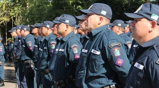 Policias militares durante evento em Campo Grande (Foto: Divulgação - Sejusp)