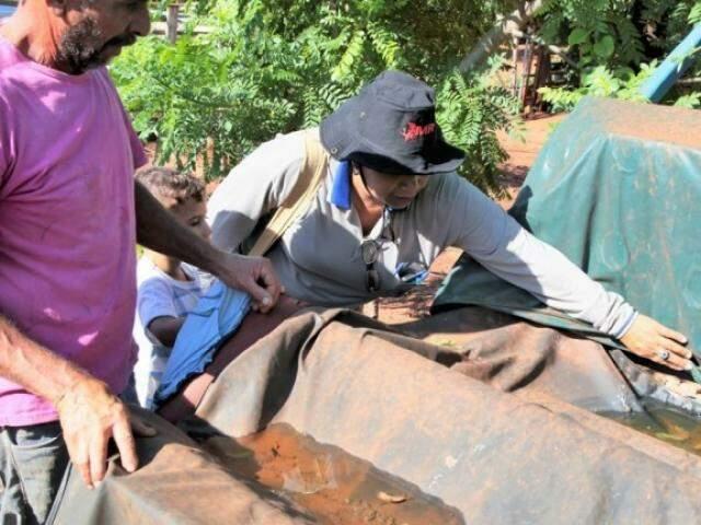 Agente de endemias verificando imóvel em Campo Grande, no começo do ano (Foto: PMCG - Divulgação)
