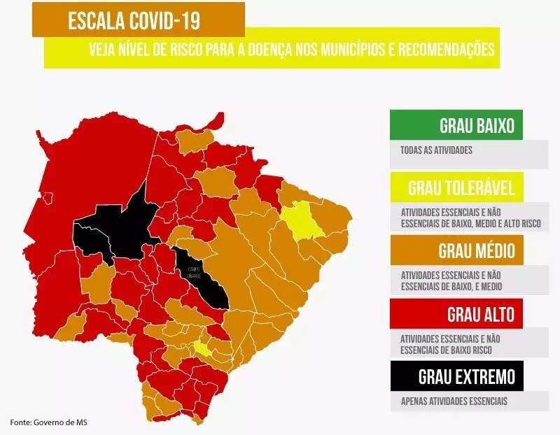 Mapa atualizado mostra situação de cada município em faixas de risco à covid-19 (Infográfico: Ricardo Oliveira)