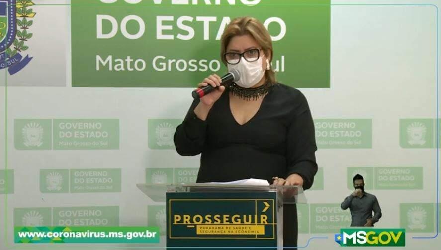 Secretária-adjunta de Saúde, Christine Maymone, durante live deste sábado (Foto: Reprodução - Facebook)